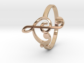 Size 8 Clefs Ring in 14k Rose Gold Plated Brass