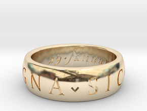 Size 6 Sir Francis Drake, Sic Parvis Magna Ring in 14K Yellow Gold
