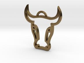 Bull Head Pendant in Polished Bronze