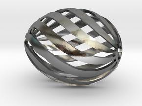 Egg Spiral in Polished Silver