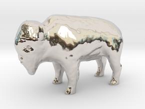 Miniature Bison in Rhodium Plated Brass