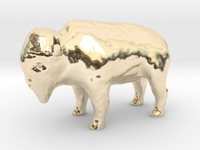 Miniature Bison in 14k Gold Plated Brass