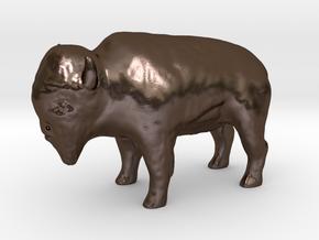 Miniature Bison in Polished Bronze Steel