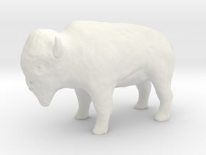 Miniature Bison in White Natural Versatile Plastic