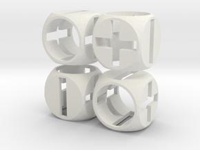 """Fudge Zero"" Dice Set (4dF) in White Natural Versatile Plastic: Polyhedral Set"