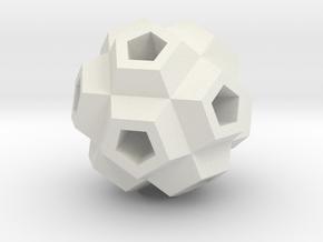 Coral Polyhedron Pendant in White Natural Versatile Plastic