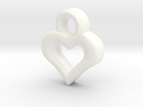 Heart Pendant in White Processed Versatile Plastic
