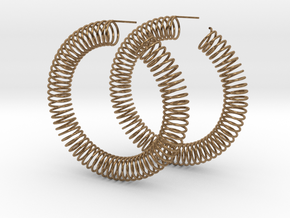 Spring Earrings in Natural Brass