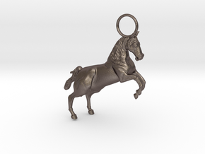 Horse Earring/Pendant in Polished Bronzed Silver Steel