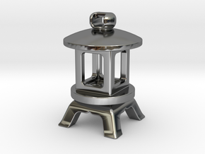 Japanese Stone Lantern B: Tritium (All Materials) in Fine Detail Polished Silver