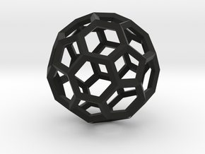 17cm-Truncated Icosahedron-Archimedes09-Polyhedron in Black Strong & Flexible