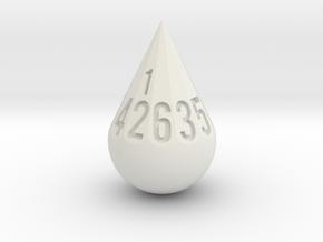 Teardrop Dice in White Natural Versatile Plastic: d12