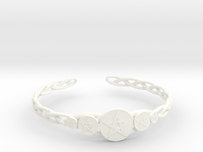 "Celtic Knot Pentacle Cuff Bracelet (2.5"" diameter) in White Processed Versatile Plastic"