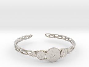 "Celtic Knot Pentacle Cuff Bracelet (3.0"" diameter) in Platinum"