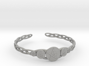 "Celtic Knot Pentacle Cuff Bracelet (3.0"" diameter) in Aluminum"