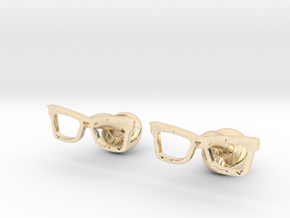 Hipster Glasses Cufflinks Origin in 14K Yellow Gold