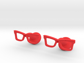 Hipster Glasses Cufflinks Origin in Red Processed Versatile Plastic