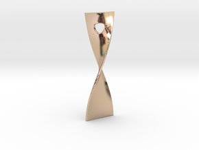 Twist 180 pendant 5cm tall in 14k Rose Gold Plated Brass