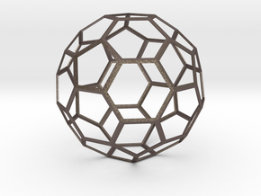 Truncated Icosahedron in Polished Bronzed Silver Steel