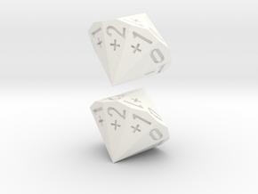 4-in-2 Fudge / Fate Dice (2d18 numbered as 4dF) in White Processed Versatile Plastic