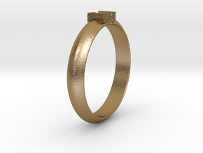 Ø18.19 Mm Design Block Arrow Ring/Ø0.716 inch in Polished Gold Steel