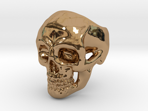 Skull Ring #9(US) in Polished Brass