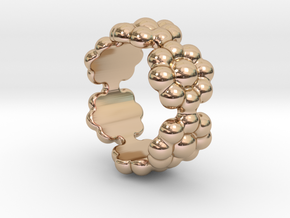 New Flower Ring 26 - Italian Size 26 in 14k Rose Gold Plated Brass