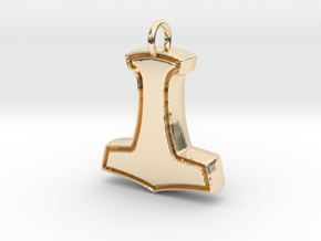 Minimalist Mjolnir Pendant in 14k Gold Plated Brass