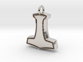 Minimalist Mjolnir Pendant in Rhodium Plated Brass