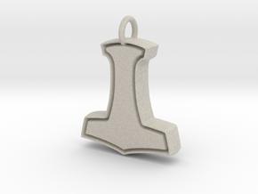 Minimalist Mjolnir Pendant in Natural Sandstone