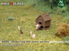 Chicken coop with rooster and hens (N 1:160) in Smoothest Fine Detail Plastic
