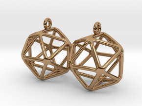 Icosahedron Earring in Polished Brass