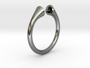 Gramaphonic Ring, US size 8,5 d= 18mm. Place M in Polished Silver: 8.5 / 58