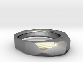 Decagon Faceted Ring 4.5 in Fine Detail Polished Silver