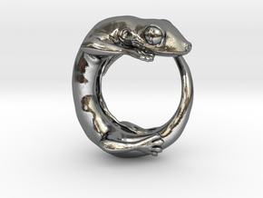 (Size 13) Gecko Ring in Polished Silver