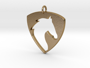 Horse Head V2 Pendant in Polished Gold Steel