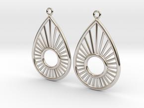 Sunrise Pear - Earrings in Rhodium Plated Brass