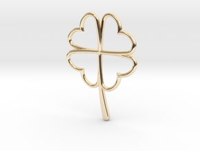 Wireframe Clover Pendant in 14k Gold Plated Brass