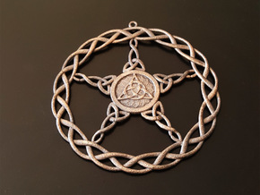 Triqueta Pentacle Pendant in Polished Bronzed Silver Steel
