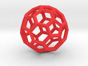 15cm Truncated Icosahedron-Archimedes09-Polyhedron in Red Processed Versatile Plastic