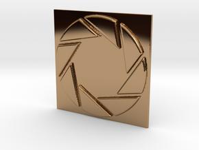 Aperture Laboratories Keychain in Polished Brass