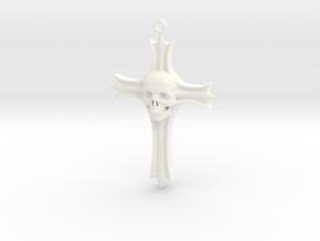 Skull Crucifix Pendant in White Processed Versatile Plastic