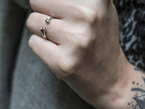 Bone adjustable Ring (Woman size) in Polished Silver