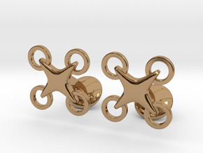 Drone Cufflinks in Polished Brass