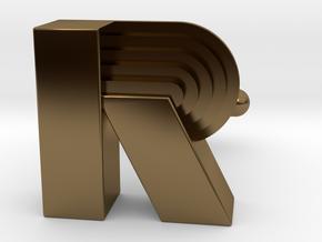 R Art Deco Cufflink Letter in Polished Bronze