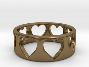 Heart ring (~size 8) in Polished Bronze