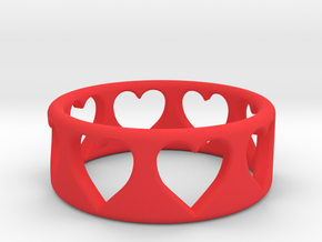 Heart ring (~size 8) in Red Processed Versatile Plastic