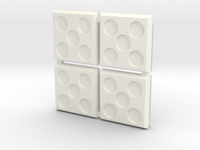 Square Bases in White Processed Versatile Plastic