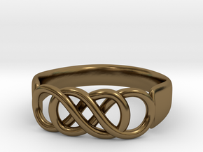 Double Infinity Ring 14.1 mm Size 3 in Polished Bronze