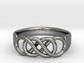 Double Infinity Ring 14.1 mm Size 3 in Fine Detail Polished Silver